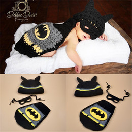 Wholesale Baby Hat Photography - Newborn Baby Photography Props Design Knitted Costume Crochet Newborn Cartoon Photo Prop Hero Hat Cape Baby Clothing Set BP014