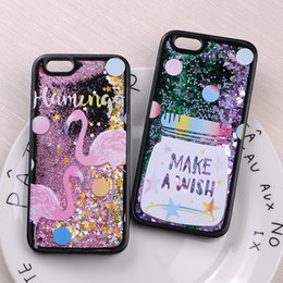 Wholesale Baseball Iphone Cases - Glitter Liquid Sparkle Outer Space Baseball Flamingo Star Jar Astronaut Dinosaur Cartoon Soft Case For iPhone 7 7Plus 6 6S 6Plus