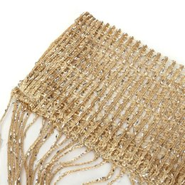 Wholesale Wholesale Blackout Drapes - Tassel Glitter Curtains String Champagne for Living Room Window Door Shower Curtain Divider Panels Screen Drape Decoration