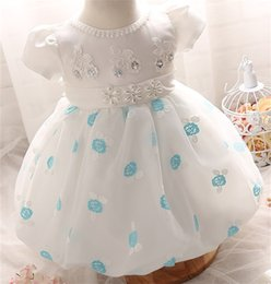 Wholesale Baby Wedding Dress Months - Wholesale- Newborn Dress For Girl New Brand Toddler Girls Clothes Flower Baby Wedding Gown Princess Infant Costume 3 6 9 12 18 24 Months
