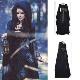 Wholesale Plus Size Gothic Costumes - 2017 New Halloween long sleeve irregular maxi women's cosplay Theme Costumes plus size Round neck belt party dress big hem skirt