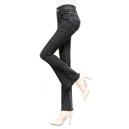Wholesale Stretch Women Jeans Bell Bottom - Big Stretch Women Fashion Cotton Flare Jeans Slim Burrs Calca Flare Wide Leg Jeans Trousers Skinny Bell Bottoms Flare Pants 923