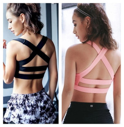 pink crop tank top Promo Codes - Women's professional shake proof padded bra running gym yoga hollow out breathable fabric back bandage crop top bustier padded vest