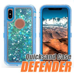 Wholesale Bling Defender Iphone Cases - For iPhone X 8 7 Plus 6 6s Plus Samsung Note 8 S8 Plus Bling Liquid Quicksand Crystal Robot Case Defender Hybrid Cover with Belt Clip