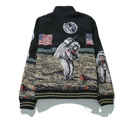 Wholesale Women Windproof Jeans - New Fashion Autumn Windproof Universe Space Astronauts Historic Moon Landing Walk Baseball Uniform Men Women Jacket Zipper MA1 Jeans Coat