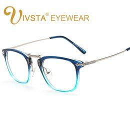 Wholesale Spectacle Frames Lady - IVSTA Shadow Blue Color Vintage Glasses Men Optical Frame Nerd Eyeglasses Spectacles myopia Fashion Clear metal tags Women lady