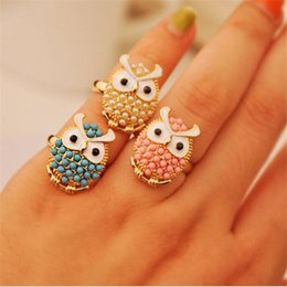 Wholesale Owl Ring Retro - Cute Owl Ring Women DHL New Korea Beautifully Delicate Pearl Ring Wholesale Factory Direct Punk European Style Retro 2 Colos Pearl