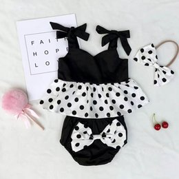 Wholesale Girls Cotton Sleeveless Top - Ins Girls Clothing Sets Black White Dots Top+Bow Shorts+Headband Three Piece Summer Fashion Suit Sets Kids Clothes E303