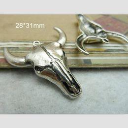Wholesale Cattle Bull - Wholesale- Bull Head Charm Bull Pendant Tibetan Silver 28*31mm Cow Cattle Ox Bull Taurus Necklace Bracelet Men Jewelry Supply - 30 pcs