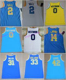 Wholesale Xxl Love - UCLA Bruins 2 Lonzo Ball Jersey 0 Russell Westbrook 42 Kevin Love 33 Kareem Abdul Jabbar 31 Reggie Miller 32 Bill Walton 14 Zach LaVine Blue