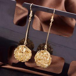 Wholesale Sphere Earrings - American Fashion Compact Design Earrings Gold,Silver 2 Colors Hollow Sphere Eardrop Tassel Earbob For Women Wholesale