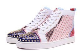 Wholesale Mens High Tops Sneakers - 2017Exclusive new high quality fashion mens patchwork with spikes red bottom casual shoes womens high top gentleman sneakers size35-47