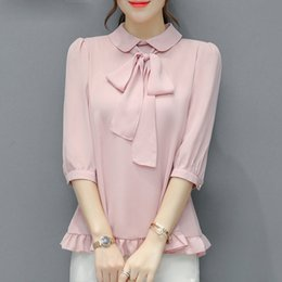 Wholesale Peter Pan Collar Chiffon Top - Summer New Half Puff Sleeve College Style Chiffon Shirt Women 's Top Sweet Blouse Peter Pan Collar with Bow Tie