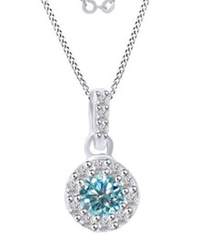 Wholesale Ct Lights - 5.5 Ct Round Light Blue Moissanite Halo Pendant Necklace In Sterling Silver