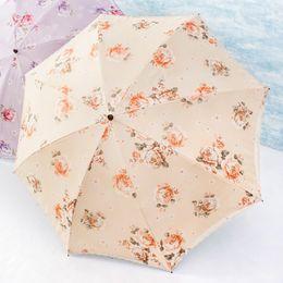 Wholesale Umbrella Uv Protection - Non-automatic Umbrella Two fold lace embroidery embroidery lace sun umbrella woman sunscreen two fold umbrella UV protection
