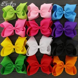Wholesale Alligator For Kids - Toplay 12pcs  Lot Large 8 Inch Boutique Grosgrain Ribbon Hiar Bows With Alligator Clips Big Bow For Teens Kids Girls Hairbow