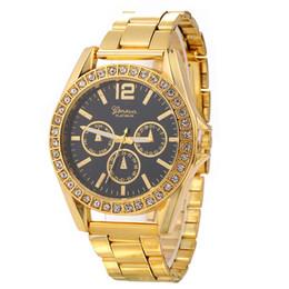 Wholesale Mens Metal Watches - Unisex geneva luxury mens women diamond alloy metal stainless 3 eyes design 2017 new casual fashion lady men party quartz wrist watches
