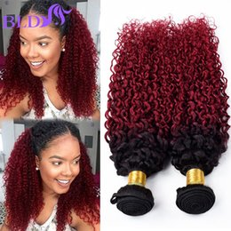 Wholesale Curly Hair Two Tone Color - Grade 8A Virgin Human Hair Bundles Ombre Malaysian Kinky Curly Hair Extensions Two Tone 1B BG Burgundy Red Remy Hair Wave Weft Bundles