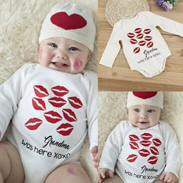 Wholesale Halloween Outfit Infant - Newborn Baby Bodysuit Lip prints Cotton Romper Infant Boy Girl Costume Romper Jumpsuit Kids Clothes Outfit newborn boy clothes