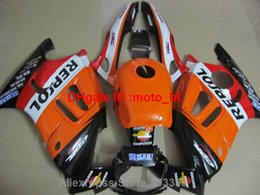 Wholesale Orange Honda F3 - Bodywork ABS plastic fairings for honda cbr600f3 95 96 97 98 orange black fairing kit cbr600 f3 1995 1996 1997 1998 AD46