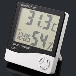 Display eletrônico interior on-line-Eletrônico Relógio de Temperatura HTC-1 LCD Indoor Medidor de Umidade Alarme Diário E Exibição de Calendário com Pacote de Varejo DHL OTH357