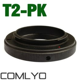 Wholesale Ricoh Camera - Wholesale- New T-mount T2 Lens for Pentax Ricoh PK Ring Mount Adapter K-5 K-7 K-20D Work With any FOR Pentax Ricoh PK DSLR SLR Camera Body