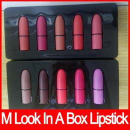Wholesale Mixed Sexy - M brand Frost Sexy lipstick M Makeup look in a box be sfnsational mini size Lipsticks *5 Frost Matte Lipstick