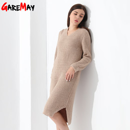 Wholesale Ladies Free Size Dress - Sweater Dress Women Pullovers Knitted Dress Ladies Elegant Long Sleeve Loose Casual Clothing V Neck Vestidos Mujer Robe GAREMAY