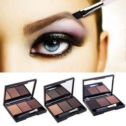Wholesale Dark Grey Brushed - 3 Color Eyebrow Powder Palette Cosmetic Brand Eye Brow Enhancer Professional Waterproof Makeup Eye Shadow With Brush Mirror Box