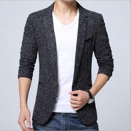 Wholesale Gray Korean Style Blazer - Korean Style Autumn Clothing Mens Slim Fit Tweed Jacket For Men Casual Black Gray Suit Blazer Male