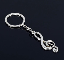 Wholesale Musical Tin - Hot selling key chain silver plated musical note key chain for car metal music symbol key ring