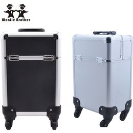 Wholesale Makeup Trolley Bags - Wholesale- wenjie brother New Arrival Fashion Professional Rolling Makeup Case Multifunctional Trolley Cosmetic Case With 360 Degree Wheel