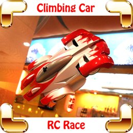 Wholesale Wall Climber Rc Car - Wholesale- Cool Gift 1 24 RC Wall Climbing Car Remote Control Wall Sticker Toy Electric Climber Vehicle Stunt Zero Gravity Children Favour