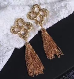 Wholesale Long Indian Wedding Dresses - Women earrings Europe and the United States big metallic long tassel dress collocation is free shipping