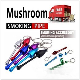 Wholesale Metal Pipe Mushrooms - Smoking Pipes Mini Keychain Mushroom Styles Smoking Accessories Ultimate Pipe Mini Aluminum Metal Keychain smoking Pipe Gift CCA6747 1200pcs