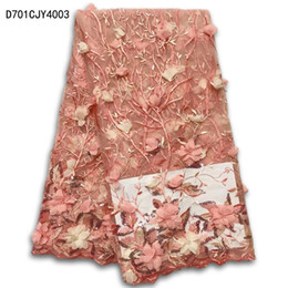 Wholesale French Fabric Designs - Latest Style Beaded Lace Fabric,2017 Fashion 3D flower design African Lace Fabric Tulle African French Lace Fabric D702AJY40