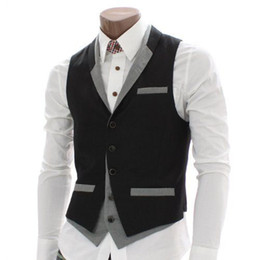 Wholesale Dinner Suits For Men - Wholesale- 2016 Tailor Made Black Gray Vests For Mens Slim Fit Wedding Prom Dinner Suit Waistcoats Handsome Man Vest chaleco hombre colet
