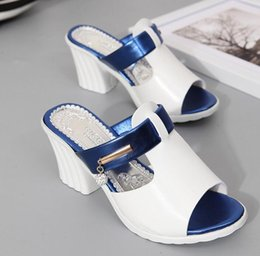 Wholesale Lady B High Wedges - wedge sandals 2017 summer elegant lady women fish mouth wedge chunky heel sandal slippers