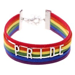 Wholesale Silicone Love Ring - Gay Pride Bracelet LGBT Rainbow Pride Bracelets Perfect Gay Gifts Lesbian Love Bracelets