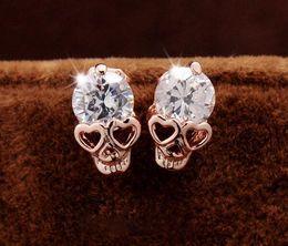 Wholesale Silver Skull Earrings Women - Rose gold skull earrings natural crystal wholesale fashion small sterling silver jewelry for women stud women earings Xmas Gift