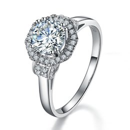 Wholesale Art Deco Silver Plated - Art Deco 1Ct Round Cut Synthetic Diamond Wedding Female Ring Solid 925 Sterling Silver Ring White Gold Plated Jewelry