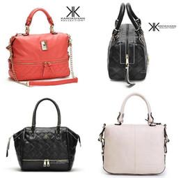 Bolso multi cremallera negro online-Nueva moda kardashian kollection marca cadena negra mujer bolso de cuero bolso bandolera KK bolso de mensajero de los bolsos