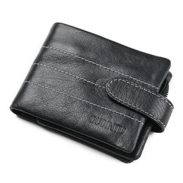 Wholesale Genuine Leather Horizontal - Retro Practical Oil Waxing Leather Travel Wallet Cowhide Genuine Thickening Vintage Men Horizontal Wallet Men's Purse Passport Wallets