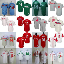 Wholesale Grey Pinstripe - 2017 Mens Ladys Youth Philadelphia Phillies Reds 14 Pete Rose Beige Blue Green Grey Pinstripe Red 1969 Vintage Wholesale Baseball Jerseys