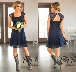 Wholesale Light Yellow Bridesmaid Short Sleeve - 2017 Short Navy Blue Lace Bridesmaid Dresses Capped Sleeves Knee Length Maid of Honor Gowns Cheap Country Bridesmaid Dress