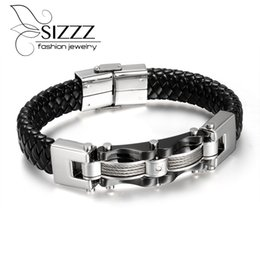 Wholesale Mens High Bar - Wholesale- Mens and Womens Leather Rope Bracelet Tribal Braided Cuff Bangle Stainless Steel Button High quality mens decorations