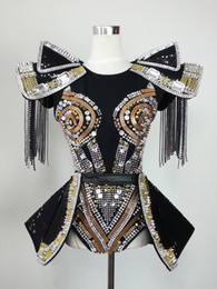 Wholesale Ds Dance - Feminina Dance Costumes For Shows Fashion Star Female Singer Dj Costume Ds Rivet One Piece Set High Quality customized