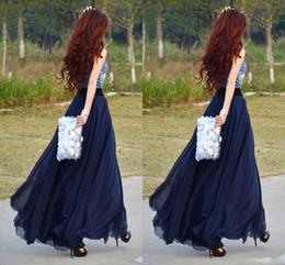 Wholesale Xs Dresses For Women - 2017 Chiffon Navy Blue Long Skirts For Women Floor Length Beach Party Dresses Chiffon Skirts Maxi Skirt High Waist Skirts