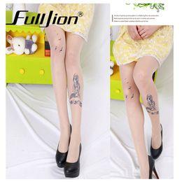 Wholesale Sexy Cartoon Tattoos - Wholesale-FullJion Brand Sexy Machine Tattoo Transparent silk Tights Stockings Pantyhose Cute Cartoon Ultra-thin women girl's print tights