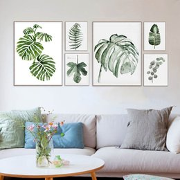 Wholesale Print Poster Design - Original Design Watercolor Green Leaf Natural Tropical Plant Cottage Art Canvas Prints wall Picture Posters For Home Sofa Decor